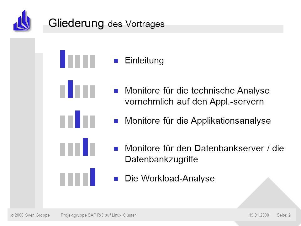 © 2000 Sven Groppe19.01.2000Projektgruppe SAP R/3 auf Linux ClusterSeite: 2 Gliederung des Vortrages n Einleitung n Monitore für die technische Analys