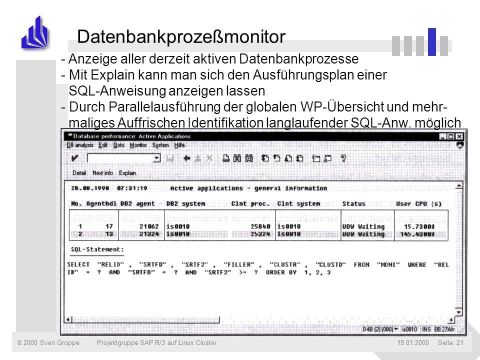 © 2000 Sven Groppe19.01.2000Projektgruppe SAP R/3 auf Linux ClusterSeite: 21 Datenbankprozeßmonitor - Anzeige aller derzeit aktiven Datenbankprozesse