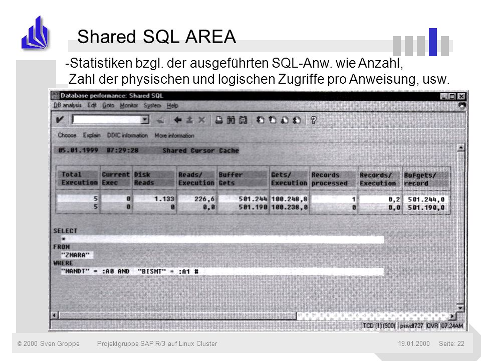 © 2000 Sven Groppe19.01.2000Projektgruppe SAP R/3 auf Linux ClusterSeite: 22 Shared SQL AREA -Statistiken bzgl. der ausgeführten SQL-Anw. wie Anzahl,