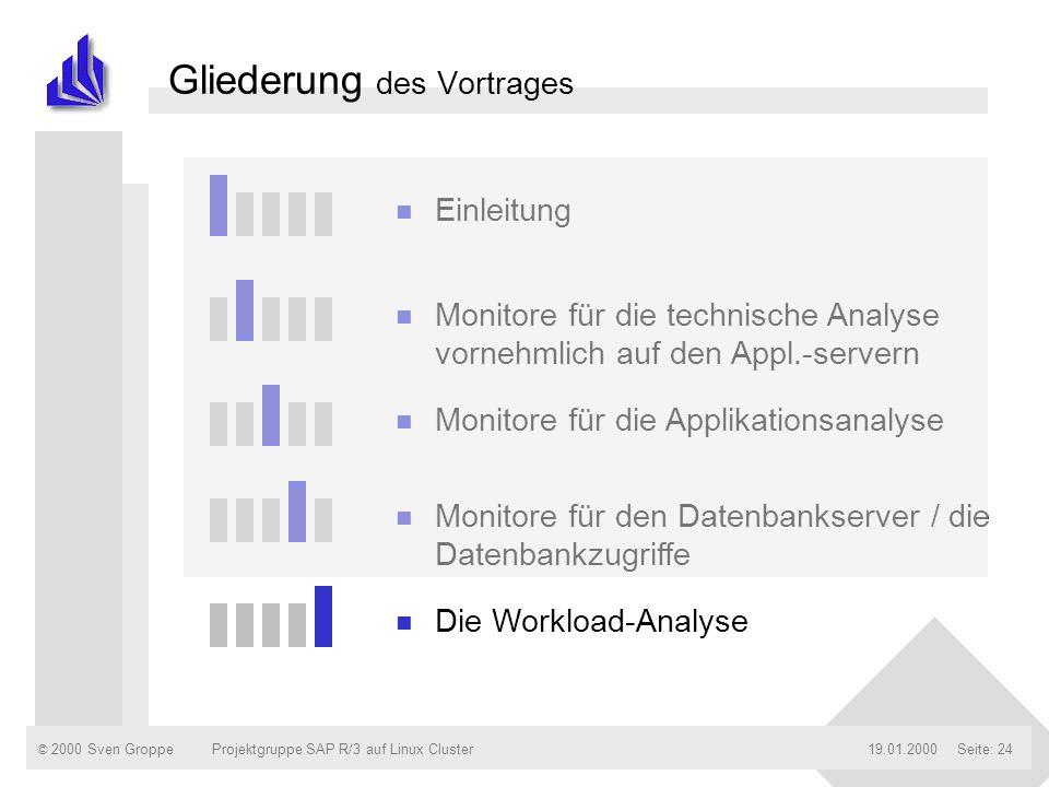 © 2000 Sven Groppe19.01.2000Projektgruppe SAP R/3 auf Linux ClusterSeite: 24 Gliederung des Vortrages n Einleitung n Monitore für die technische Analy