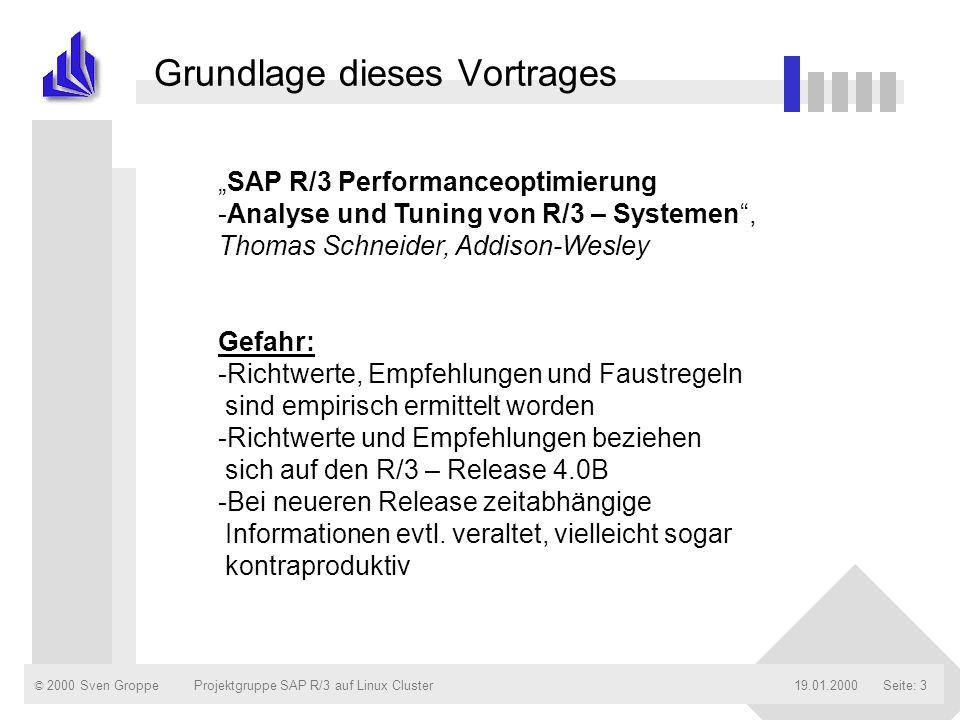 © 2000 Sven Groppe19.01.2000Projektgruppe SAP R/3 auf Linux ClusterSeite: 24 Gliederung des Vortrages n Einleitung n Monitore für die technische Analyse vornehmlich auf den Appl.-servern n Monitore für die Applikationsanalyse n Monitore für den Datenbankserver / die Datenbankzugriffe n Die Workload-Analyse