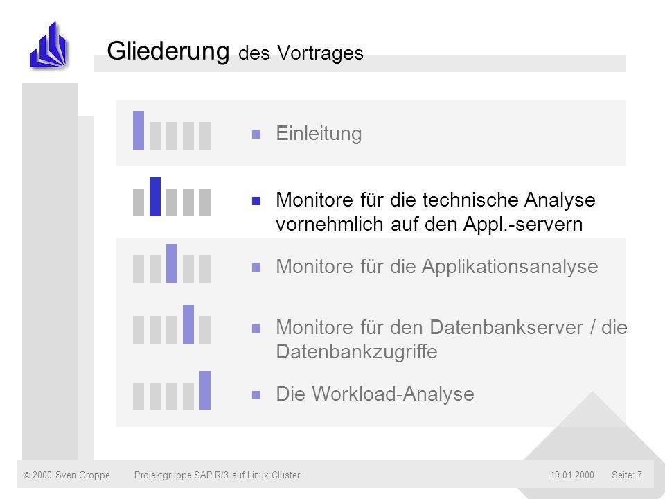 © 2000 Sven Groppe19.01.2000Projektgruppe SAP R/3 auf Linux ClusterSeite: 7 Gliederung des Vortrages n Einleitung n Monitore für die technische Analys