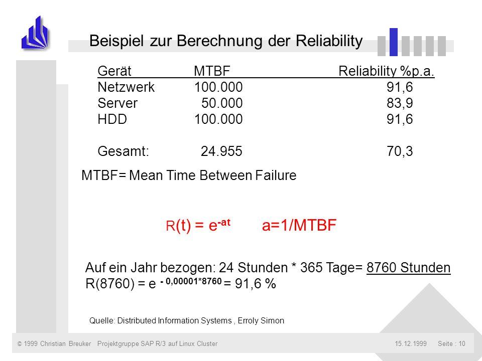 © 1999 Christian Breuker15.12.1999Projektgruppe SAP R/3 auf Linux ClusterSeite : 10 91,6 83,9 91,6 GerätMTBFReliability %p.a. Netzwerk100.000 Server 5