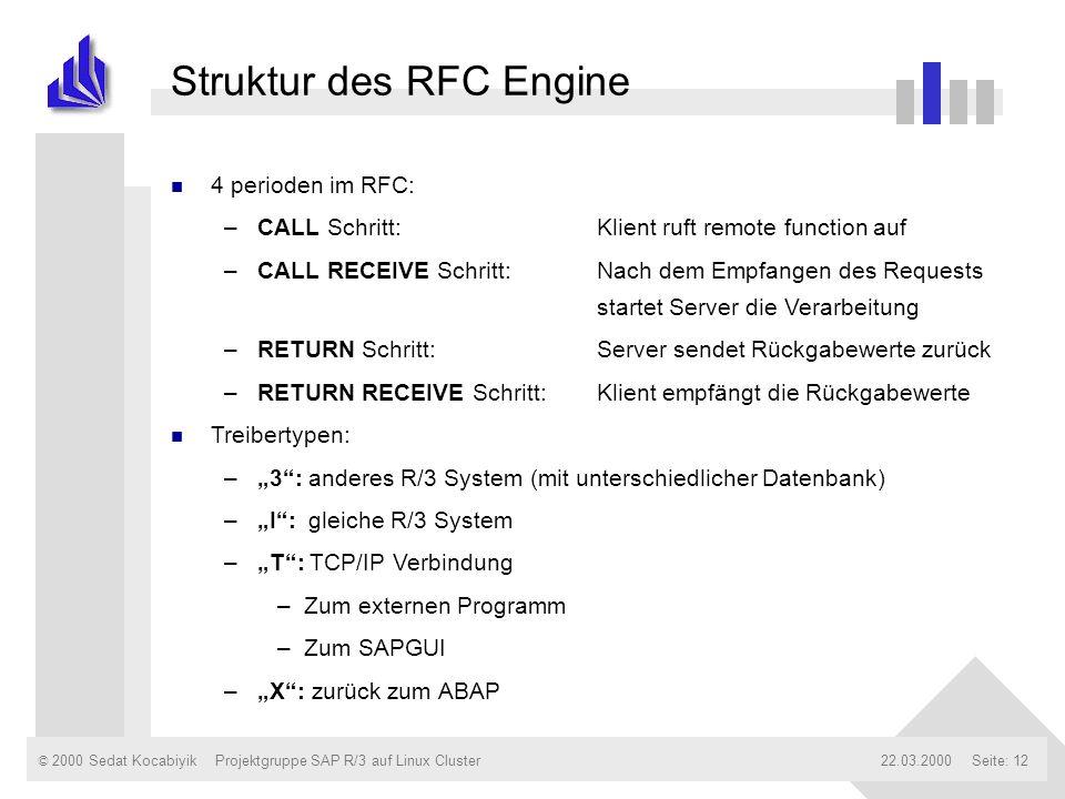 © 2000 Sedat Kocabiyik22.03.2000Projektgruppe SAP R/3 auf Linux ClusterSeite: 12 Struktur des RFC Engine n 4 perioden im RFC: –CALL Schritt:Klient ruf