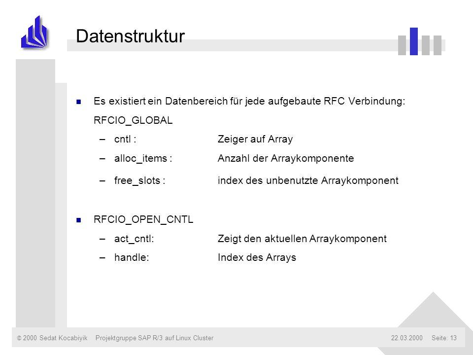 © 2000 Sedat Kocabiyik22.03.2000Projektgruppe SAP R/3 auf Linux ClusterSeite: 13 Datenstruktur n Es existiert ein Datenbereich für jede aufgebaute RFC