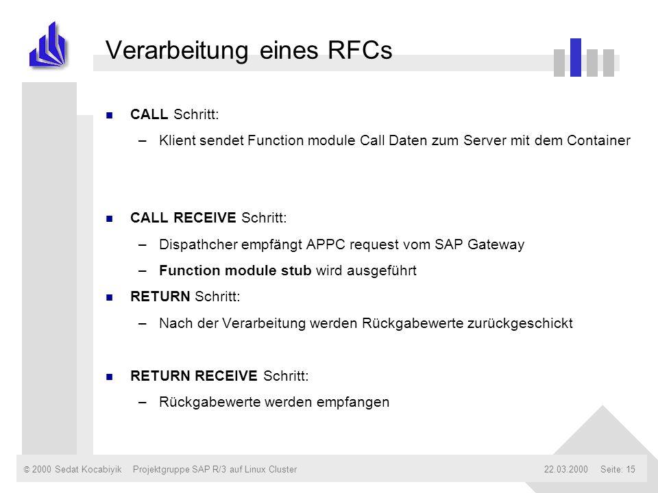 © 2000 Sedat Kocabiyik22.03.2000Projektgruppe SAP R/3 auf Linux ClusterSeite: 15 Verarbeitung eines RFCs n CALL Schritt: –Klient sendet Function modul