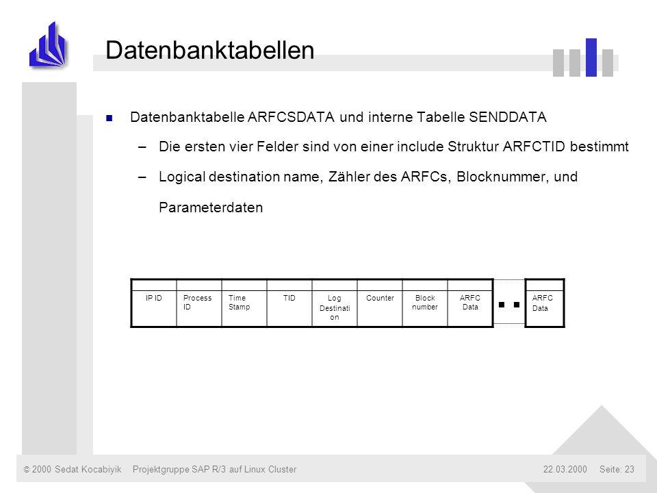 © 2000 Sedat Kocabiyik22.03.2000Projektgruppe SAP R/3 auf Linux ClusterSeite: 23 Datenbanktabellen n Datenbanktabelle ARFCSDATA und interne Tabelle SE
