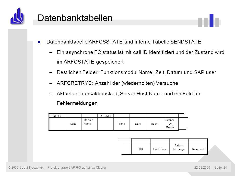 © 2000 Sedat Kocabiyik22.03.2000Projektgruppe SAP R/3 auf Linux ClusterSeite: 24 Datenbanktabellen n Datenbanktabelle ARFCSSTATE und interne Tabelle S