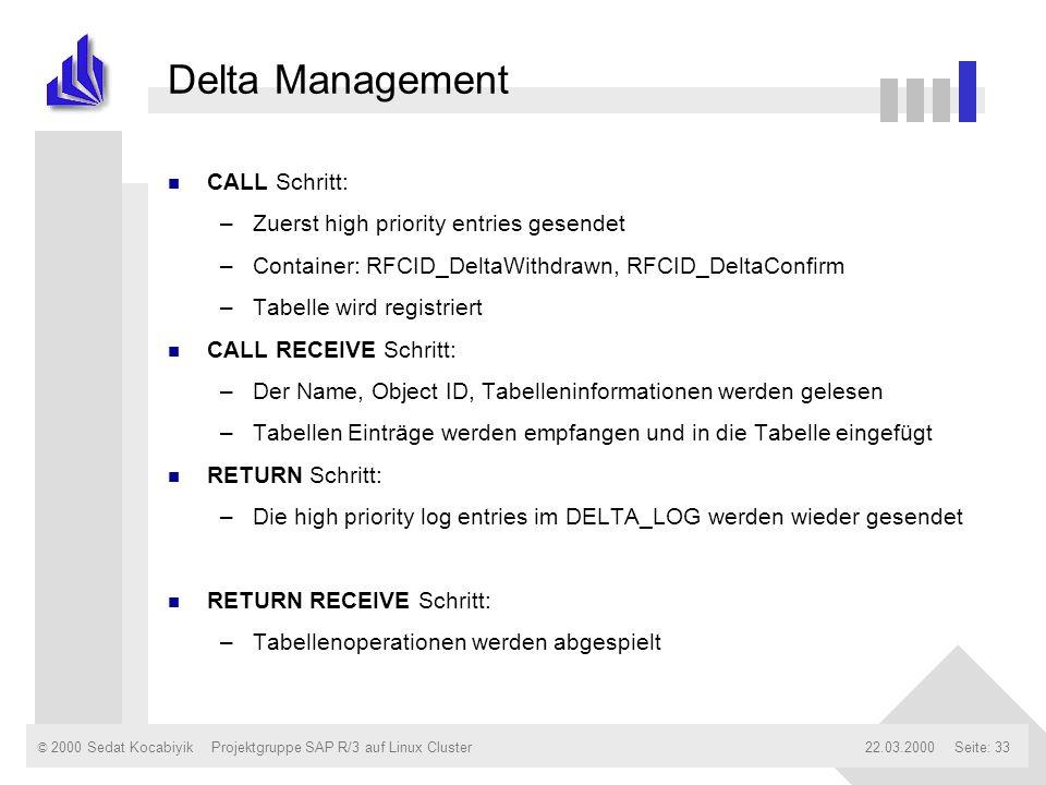 © 2000 Sedat Kocabiyik22.03.2000Projektgruppe SAP R/3 auf Linux ClusterSeite: 33 Delta Management n CALL Schritt: –Zuerst high priority entries gesend