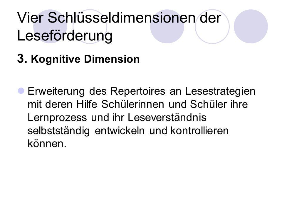 Vier Schlüsseldimensionen der Leseförderung 3. Kognitive Dimension Erweiterung des Repertoires an Lesestrategien mit deren Hilfe Schülerinnen und Schü