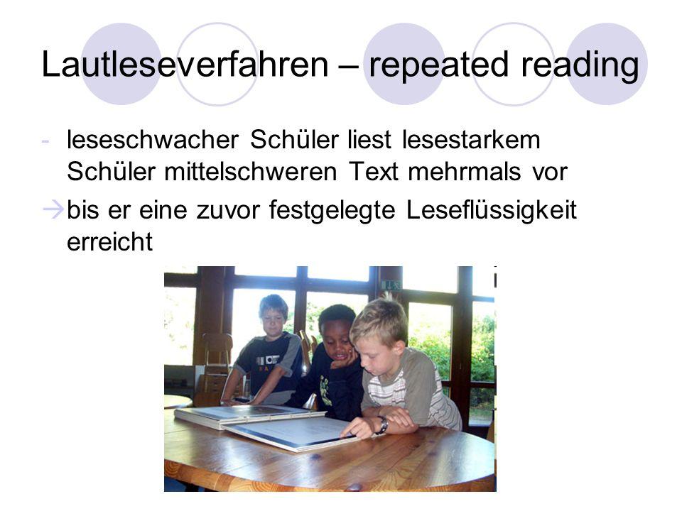 Lautleseverfahren – repeated reading -leseschwacher Schüler liest lesestarkem Schüler mittelschweren Text mehrmals vor bis er eine zuvor festgelegte L