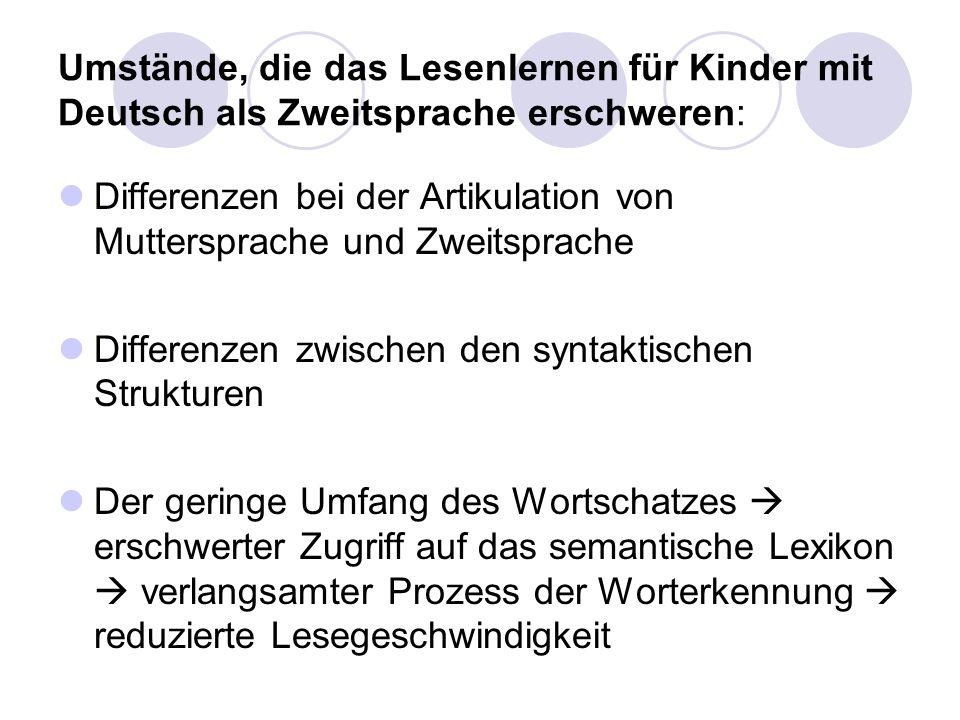 Umstände, die das Lesenlernen für Kinder mit Deutsch als Zweitsprache erschweren: Differenzen bei der Artikulation von Muttersprache und Zweitsprache