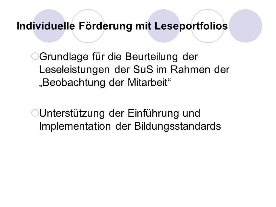 Individuelle Förderung mit Leseportfolios Grundlage für die Beurteilung der Leseleistungen der SuS im Rahmen der Beobachtung der Mitarbeit Unterstützu
