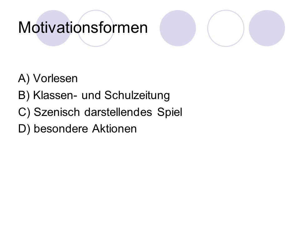 Motivationsformen A) Vorlesen B) Klassen- und Schulzeitung C) Szenisch darstellendes Spiel D) besondere Aktionen
