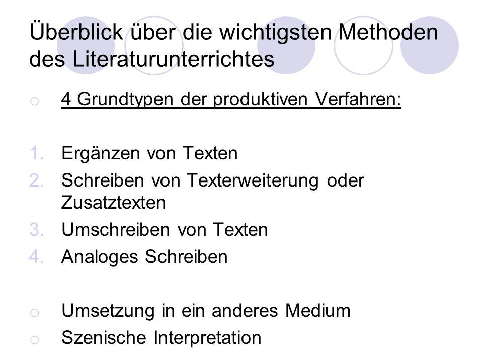 Überblick über die wichtigsten Methoden des Literaturunterrichtes o 4 Grundtypen der produktiven Verfahren: 1.Ergänzen von Texten 2.Schreiben von Text