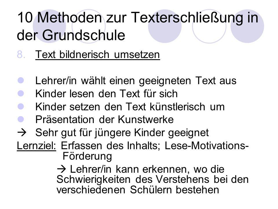 10 Methoden zur Texterschließung in der Grundschule 8.Text bildnerisch umsetzen Lehrer/in wählt einen geeigneten Text aus Kinder lesen den Text für si