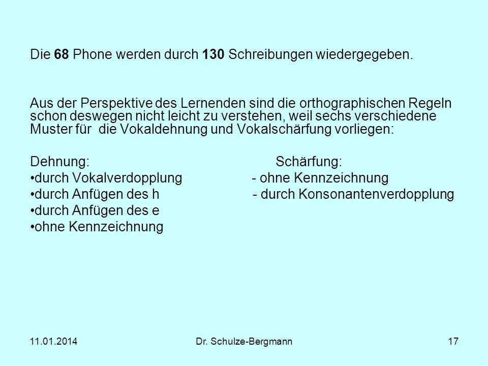 11.01.2014Dr. Schulze-Bergmann17 Die 68 Phone werden durch 130 Schreibungen wiedergegeben. Aus der Perspektive des Lernenden sind die orthographischen