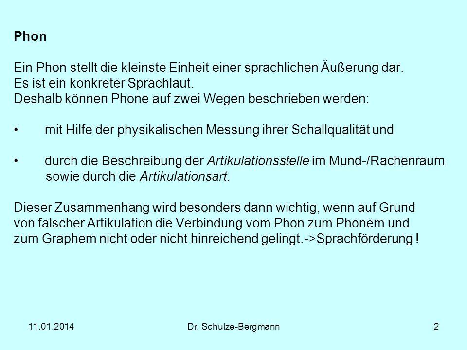 11.01.2014Dr. Schulze-Bergmann2 Phon Ein Phon stellt die kleinste Einheit einer sprachlichen Äußerung dar. Es ist ein konkreter Sprachlaut. Deshalb kö