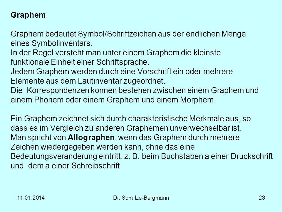 11.01.2014Dr. Schulze-Bergmann23 Graphem Graphem bedeutet Symbol/Schriftzeichen aus der endlichen Menge eines Symbolinventars. In der Regel versteht m