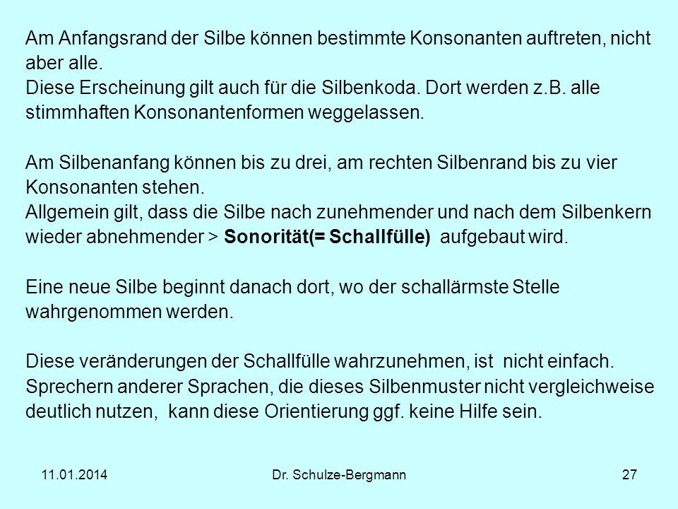 11.01.2014Dr. Schulze-Bergmann27 Am Anfangsrand der Silbe können bestimmte Konsonanten auftreten, nicht aber alle. Diese Erscheinung gilt auch für die