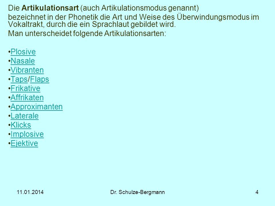 11.01.2014Dr. Schulze-Bergmann4 Die Artikulationsart (auch Artikulationsmodus genannt) bezeichnet in der Phonetik die Art und Weise des Überwindungsmo