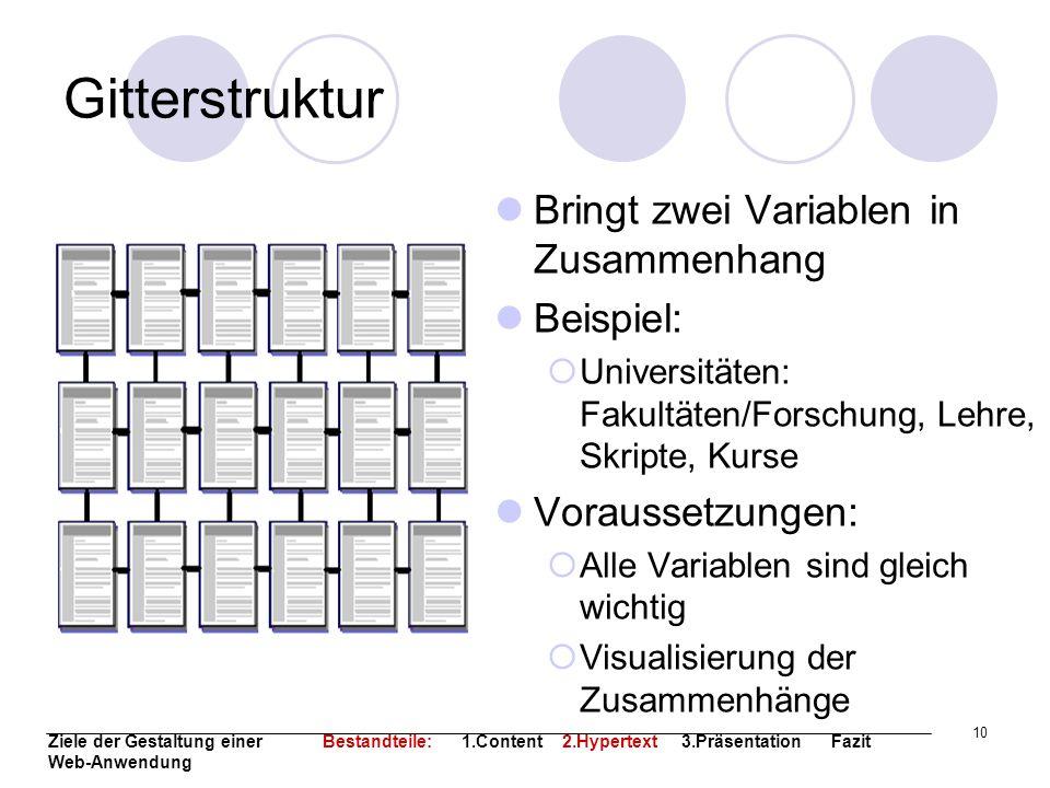 10 Gitterstruktur Bringt zwei Variablen in Zusammenhang Beispiel: Universitäten: Fakultäten/Forschung, Lehre, Skripte, Kurse Voraussetzungen: Alle Var