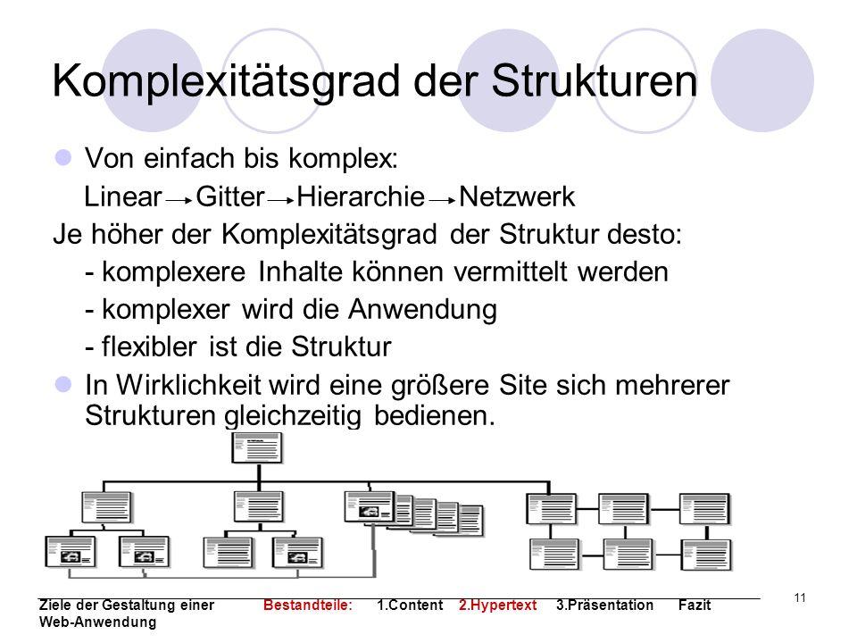 11 Komplexitätsgrad der Strukturen Von einfach bis komplex: Linear Gitter Hierarchie Netzwerk Je höher der Komplexitätsgrad der Struktur desto: - komp