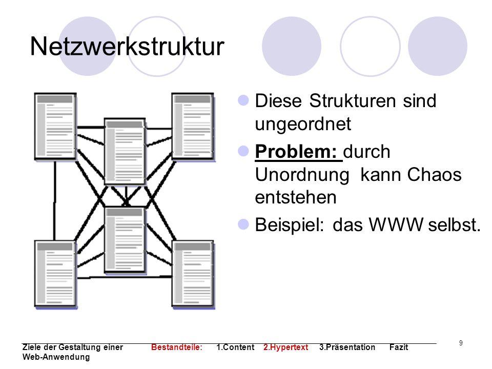 9 Netzwerkstruktur Diese Strukturen sind ungeordnet Problem: durch Unordnung kann Chaos entstehen Beispiel: das WWW selbst. Ziele der Gestaltung einer