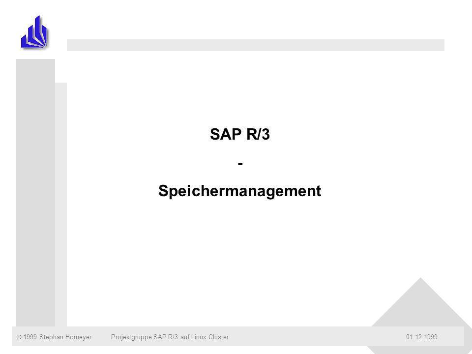 © 1999 Stephan Homeyer01.12.1999Projektgruppe SAP R/3 auf Linux ClusterSeite: 2 Gliederung n Klassifikation der Speicherbereiche n Speichermanagement auf Prozeß oder System - Ebene n Die verschiedenen Speicherbereiche des R/3- Systems n Größe der Speicherbereiche n Performanceaspekte und das ZAMM