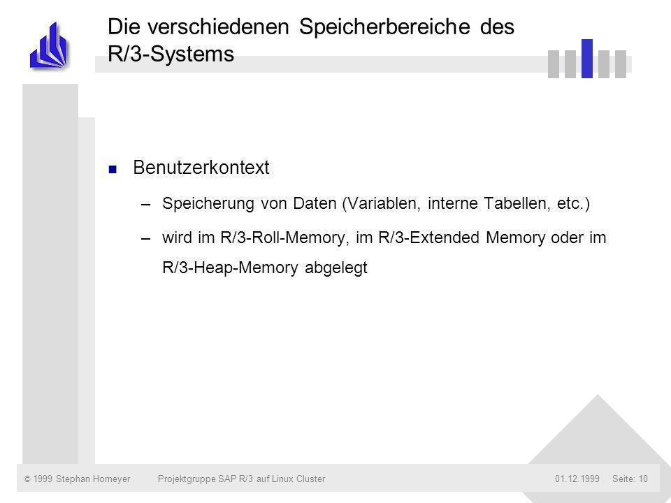 © 1999 Stephan Homeyer01.12.1999Projektgruppe SAP R/3 auf Linux ClusterSeite: 10 Die verschiedenen Speicherbereiche des R/3-Systems n Benutzerkontext