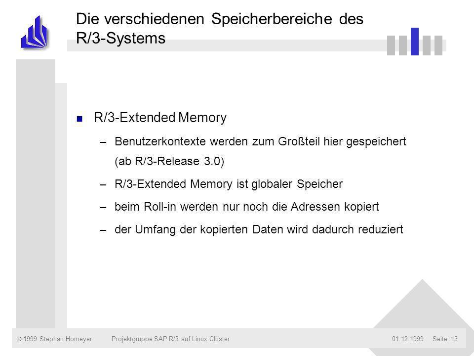 © 1999 Stephan Homeyer01.12.1999Projektgruppe SAP R/3 auf Linux ClusterSeite: 13 Die verschiedenen Speicherbereiche des R/3-Systems n R/3-Extended Mem