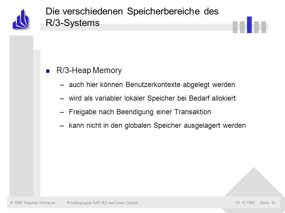 © 1999 Stephan Homeyer01.12.1999Projektgruppe SAP R/3 auf Linux ClusterSeite: 14 Die verschiedenen Speicherbereiche des R/3-Systems n R/3-Heap Memory