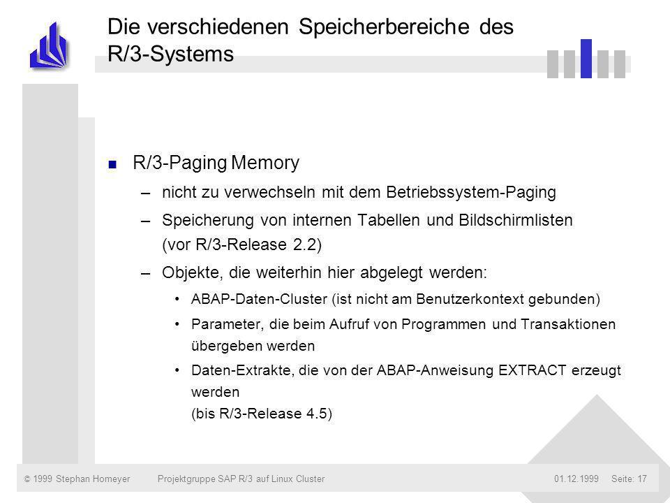 © 1999 Stephan Homeyer01.12.1999Projektgruppe SAP R/3 auf Linux ClusterSeite: 17 Die verschiedenen Speicherbereiche des R/3-Systems n R/3-Paging Memor