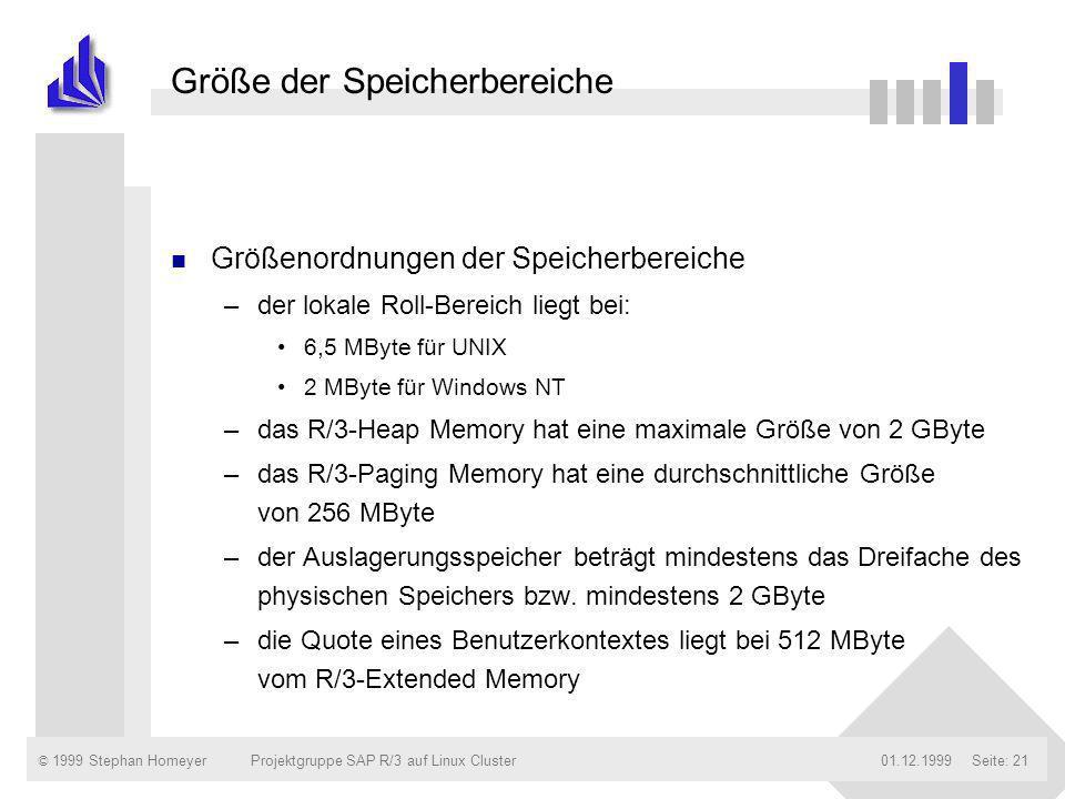 © 1999 Stephan Homeyer01.12.1999Projektgruppe SAP R/3 auf Linux ClusterSeite: 21 Größe der Speicherbereiche n Größenordnungen der Speicherbereiche –de