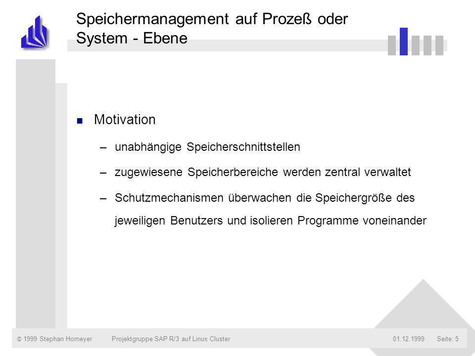 © 1999 Stephan Homeyer01.12.1999Projektgruppe SAP R/3 auf Linux ClusterSeite: 16 Die verschiedenen Speicherbereiche des R/3-Systems Übersicht der Reihenfolge der Speicherbelegung