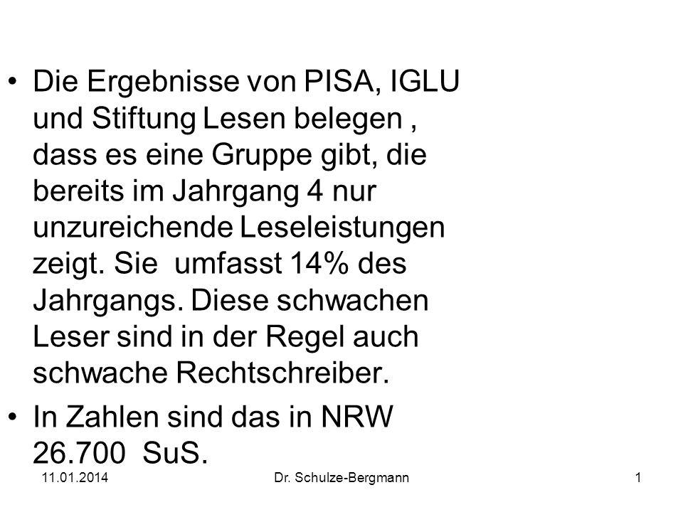 11.01.2014Dr. Schulze-Bergmann1 Die Ergebnisse von PISA, IGLU und Stiftung Lesen belegen, dass es eine Gruppe gibt, die bereits im Jahrgang 4 nur unzu