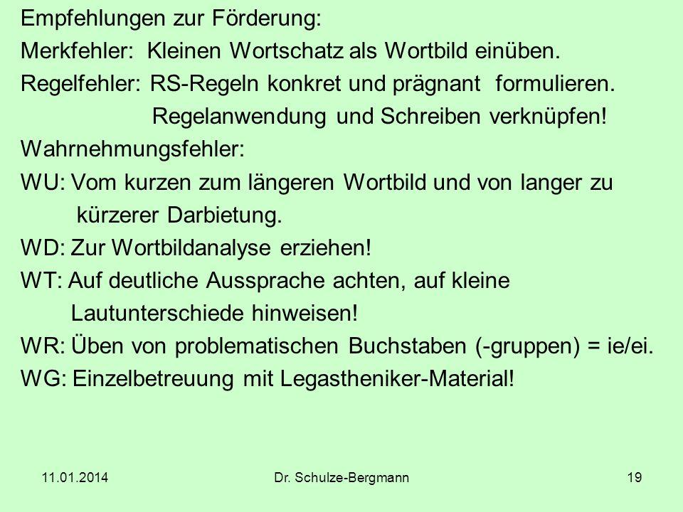 11.01.2014Dr. Schulze-Bergmann19 Empfehlungen zur Förderung: Merkfehler: Kleinen Wortschatz als Wortbild einüben. Regelfehler: RS-Regeln konkret und p