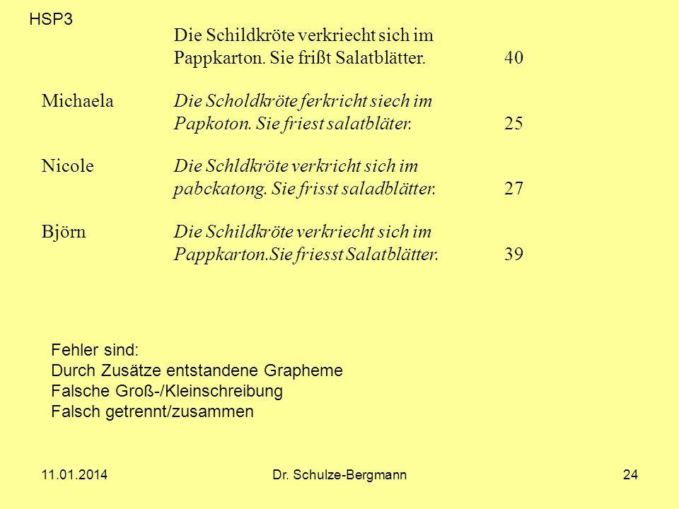 11.01.2014Dr. Schulze-Bergmann24 Die Schildkröte verkriecht sich im Pappkarton. Sie frißt Salatblätter. 40 MichaelaDie Scholdkröte ferkricht siech im