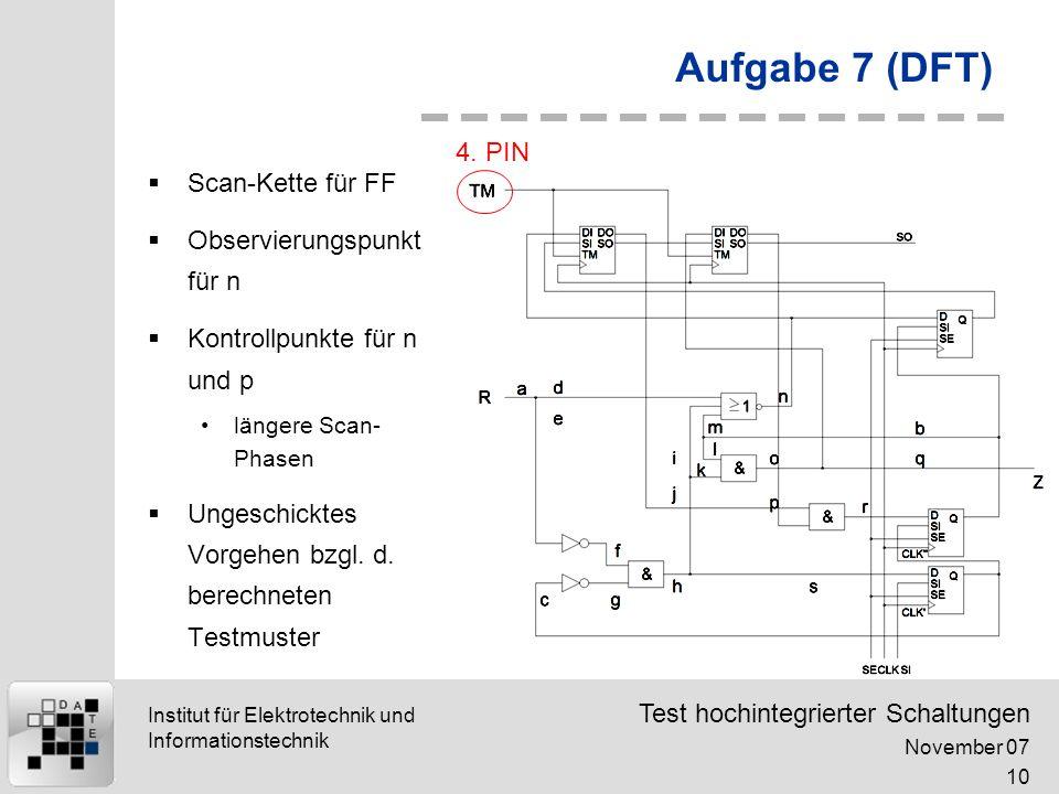 Test hochintegrierter Schaltungen November 07 10 Institut für Elektrotechnik und Informationstechnik Aufgabe 7 (DFT) Scan-Kette für FF Observierungspunkt für n Kontrollpunkte für n und p längere Scan- Phasen Ungeschicktes Vorgehen bzgl.