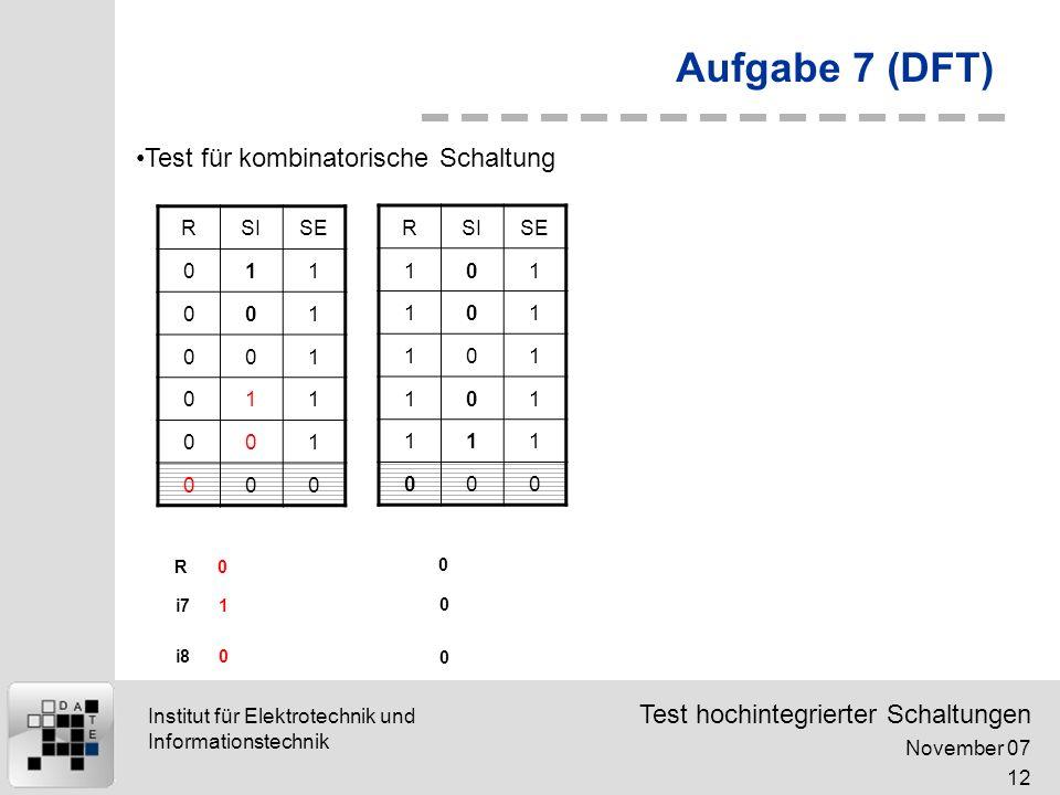 Test hochintegrierter Schaltungen November 07 12 Institut für Elektrotechnik und Informationstechnik Aufgabe 7 (DFT) RSISE 011 001 001 011 001 000 0 1 0 0 0 0 R i7 i8 RSISE 101 101 101 101 111 000 Test für kombinatorische Schaltung