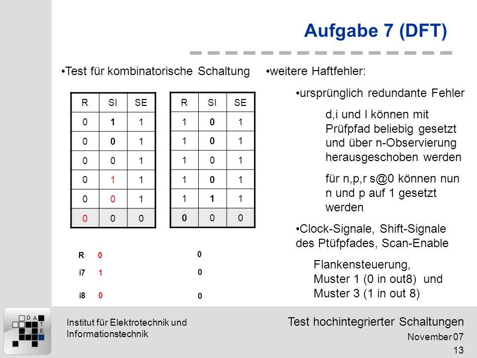 Test hochintegrierter Schaltungen November 07 13 Institut für Elektrotechnik und Informationstechnik Aufgabe 7 (DFT) RSISE 011 001 001 011 001 000 0 1 0 0 0 0 R i7 i8 RSISE 101 101 101 101 111 000 Test für kombinatorische Schaltungweitere Haftfehler: ursprünglich redundante Fehler d,i und l können mit Prüfpfad beliebig gesetzt und über n-Observierung herausgeschoben werden für n,p,r s@0 können nun n und p auf 1 gesetzt werden Clock-Signale, Shift-Signale des Ptüfpfades, Scan-Enable Flankensteuerung, Muster 1 (0 in out8) und Muster 3 (1 in out 8)