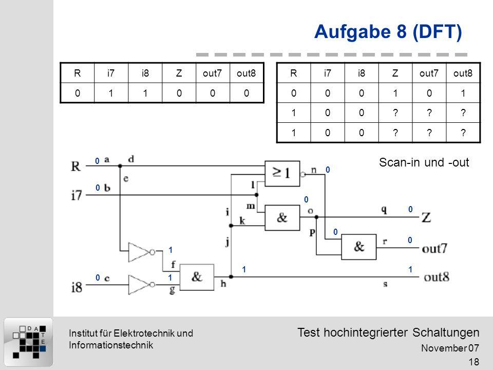 Test hochintegrierter Schaltungen November 07 18 Institut für Elektrotechnik und Informationstechnik Aufgabe 8 (DFT) Ri7i8Zout7out8 000101 100??.