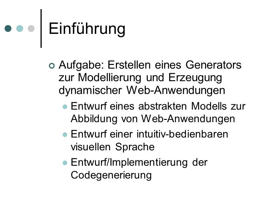 Einführung Aufgabe: Erstellen eines Generators zur Modellierung und Erzeugung dynamischer Web-Anwendungen Entwurf eines abstrakten Modells zur Abbildu