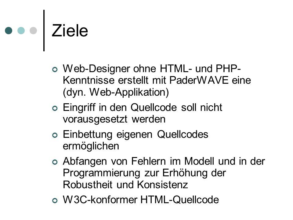 Ziele Web-Designer ohne HTML- und PHP- Kenntnisse erstellt mit PaderWAVE eine (dyn. Web-Applikation) Eingriff in den Quellcode soll nicht vorausgesetz
