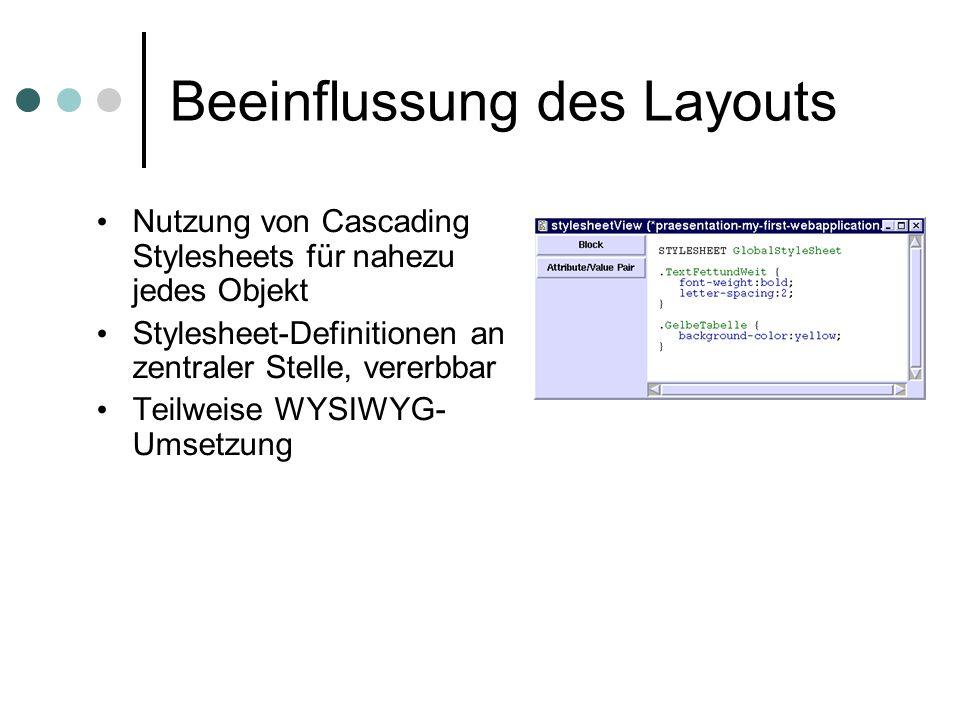 Beeinflussung des Layouts Nutzung von Cascading Stylesheets für nahezu jedes Objekt Stylesheet-Definitionen an zentraler Stelle, vererbbar Teilweise WYSIWYG- Umsetzung