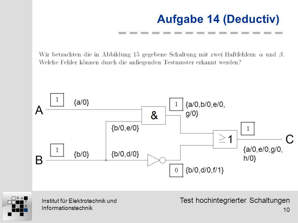Test hochintegrierter Schaltungen 10 Institut für Elektrotechnik und Informationstechnik Aufgabe 14 (Deductiv) {a/0} 11 {b/0} {b/0,d/0} {b/0,e/0} {a/0