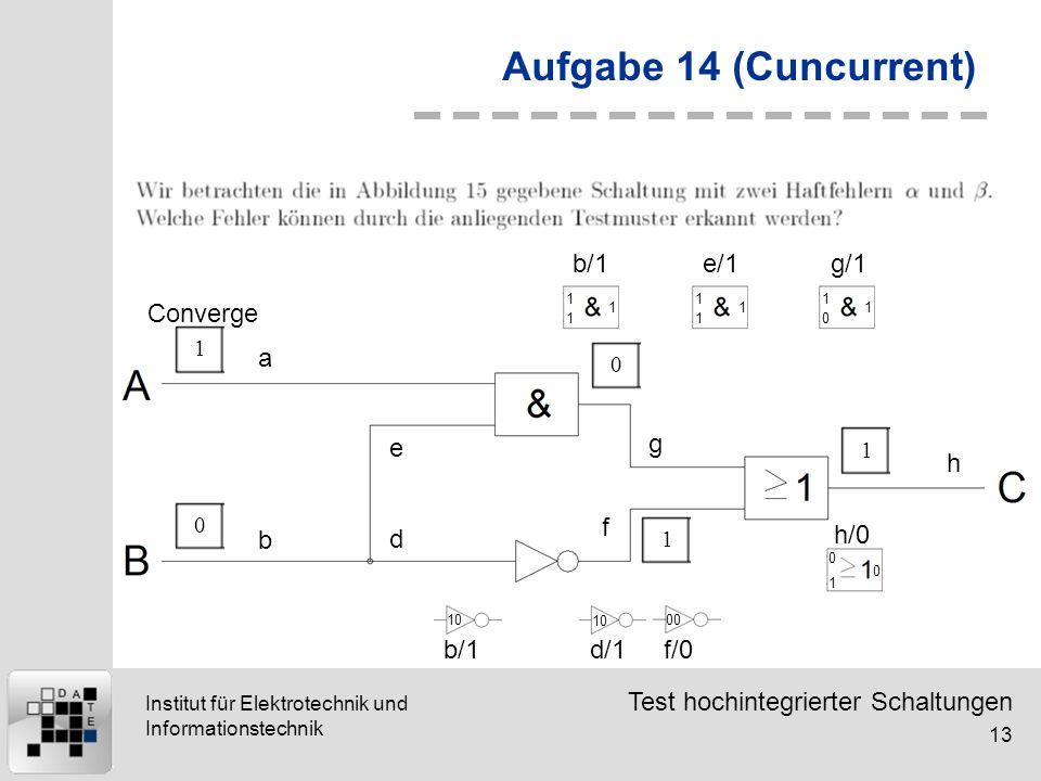 Test hochintegrierter Schaltungen 13 Institut für Elektrotechnik und Informationstechnik Aufgabe 14 (Cuncurrent) 10011 a b d e g f h 1 1 1 b/1 1 1 1 e