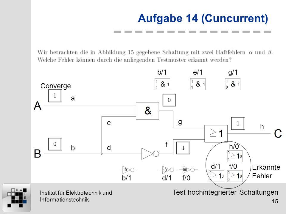 Test hochintegrierter Schaltungen 15 Institut für Elektrotechnik und Informationstechnik Aufgabe 14 (Cuncurrent) 10011 a b d e g f h 1 1 1 b/1 1 1 1 e