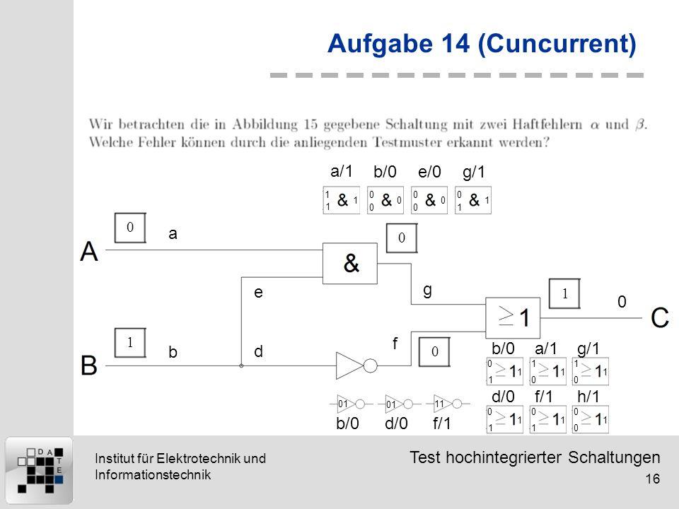 Test hochintegrierter Schaltungen 16 Institut für Elektrotechnik und Informationstechnik Aufgabe 14 (Cuncurrent) 01001 a b d e g f 0 1 1 1 0 0 0 0 0 0