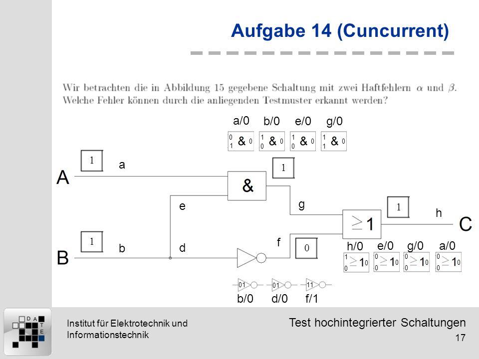 Test hochintegrierter Schaltungen 17 Institut für Elektrotechnik und Informationstechnik Aufgabe 14 (Cuncurrent) 11101 a b d e g f h 0 1 0 1 0 0 1 0 0